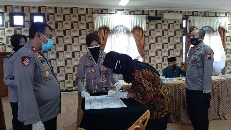 Jamin Rekrutmen Proaktif Penerimaan Bintara Polri 2021 Bebas Korupsi, Polres Banjarnegara Gelar Penandatangan Pakta Integritas