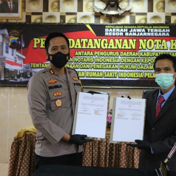 Operasi Ketupat Candi 2021: Tingkatkan Profesionalisme, Polres Banjarnegara Bersama Ikatan Notaris Indonesia Sepakat Kerjasama Sarsipol